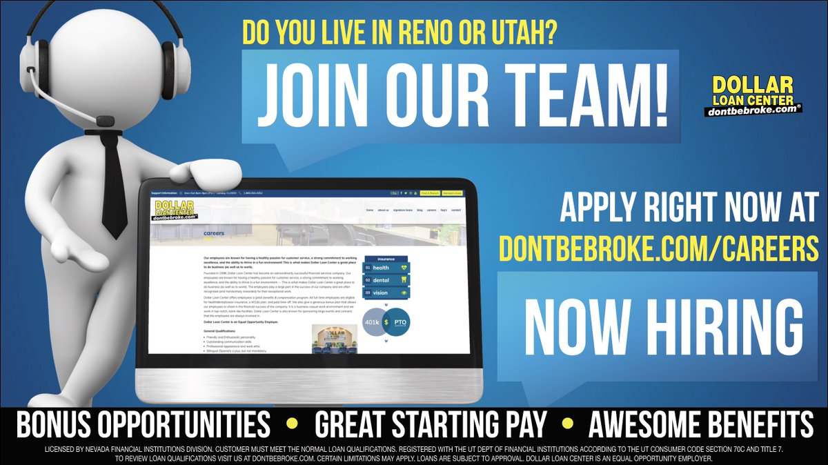 Hey Reno & Utah, WE'RE HIRING! Immediate start dates with paid training.   Apply online TODAY at https://t.co/W3uqDq6PzI   • Great Starting Pay • Paid Time Off • No Work on Sunday's • Bonus Opportunities • Awesome Benefits https://t.co/d8pp70yH7A