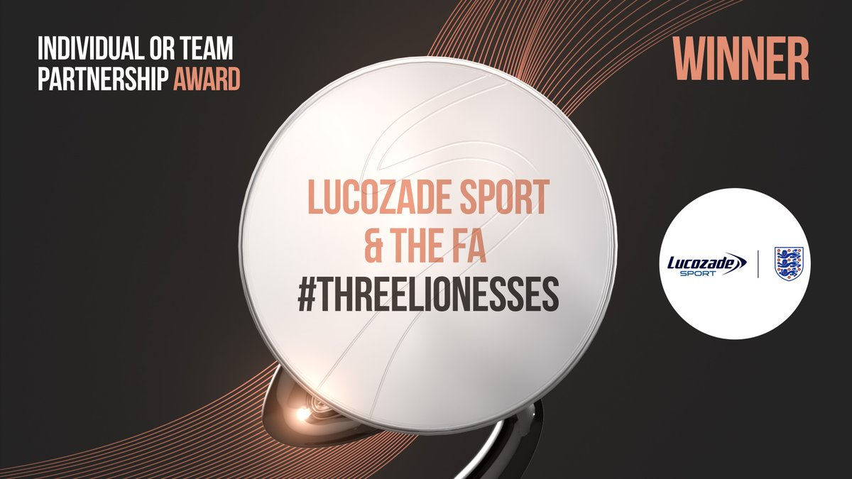 🏆Huge congratulations to @LucozadeSport & the @Lionesses, winners of this year's @SportIndustry partnership award! 🙌  Watch the ad that kicked the award-winning #ThreeLionesses campaign off below 👇  📺  #SIAwards2020 #WomenInSport  #Football