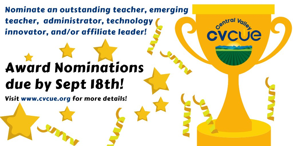 Do you know an amazing educator? Nominate them for an award today! https://t.co/1RlSepI1Yy #cvcue #somoscue #wearecue @cueinc https://t.co/M0xzVIzG0C