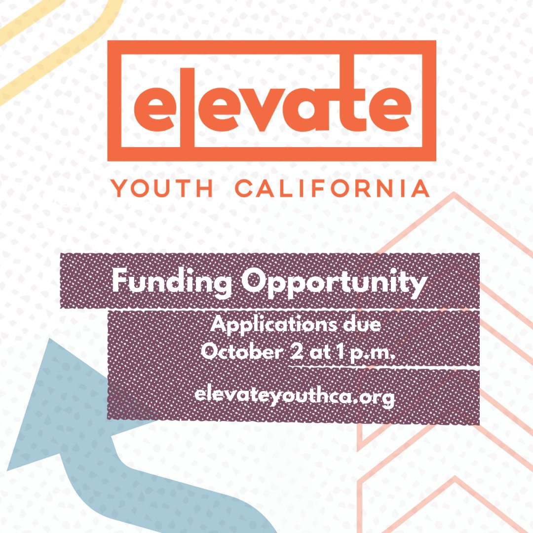 We're pleased to announce a second round of Elevate Youth California funding. Grants up to $1 million over three years will support prevention of youth substance use. Learn more at https://t.co/zW9AAi28Hl - applications are due on Oct. 2 at 1 p.m. #elevateyouthca https://t.co/38twOA0Ib5