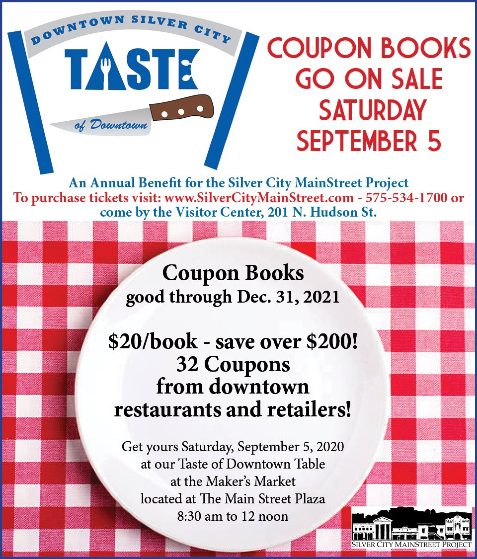 Silver City MainStreet's Taste of Downtown coupon book features 32 restaurants, shops and hotels. Buy your book at the Saturday Maker's Market from 8:30 am-noon in the Mainstreet Plaza. https://t.co/aWNr9ds5TZ #NMEcon #NMMainStreet #NMArts #NewMexicoTrue https://t.co/GU6e2P9vnd