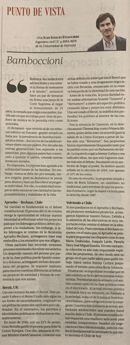 En #Pulso de #LaTercera del Dom 30 Ago 2020, Juan Ignacio Eyzaguirre desarrolla interesante paralelo entre aprovechamientos juveniles de quienes no lo son, el Brexit y la peligrosa dicotomia del Apruebo/Rechazo. Lo recomiendo y por ello lo adjunto. #Rechazo https://t.co/FyeAPlNbUd
