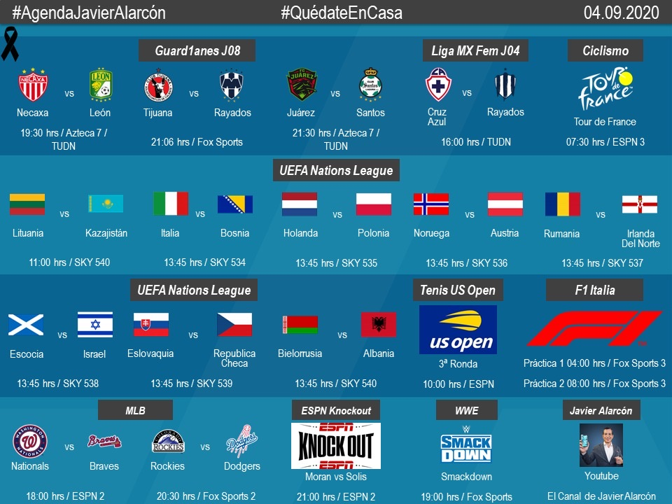 #AgendaJavierAlarcon |  #LigaBBVAMX #LigaBBVAMXFemenil #NationsLeague #MLB #USOpen #TDF2020 #ItalianGP #F1 #ESPNKnockOut #WWE #SmackDown https://t.co/FSyPkfYEWv