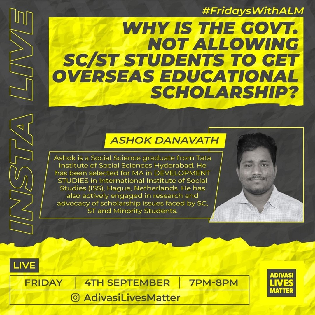 Did you know that there's a scholarship that supports Adivasi students to study abroad? @TribalAffairsIn Overseas Scholarship (GOI) Interview for academic year 2019-20 has been postponed since 17-18 March 2020. Listen to @ashish_birulee & Ashok D talk tonight in #FridaysWithALM https://t.co/j4L0GgSKkJ