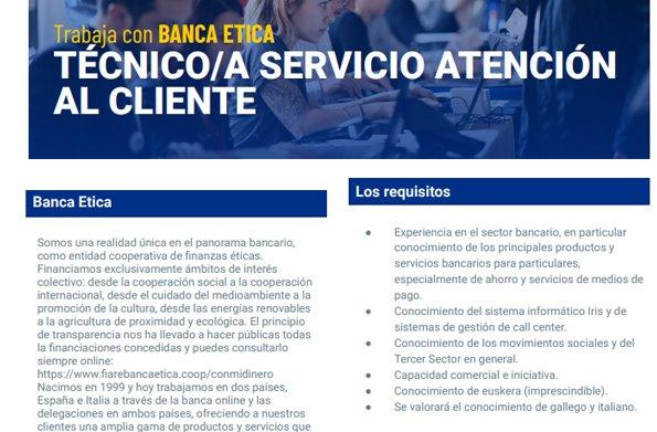 NUEVA OFERTA LABORAL: Técnico/a servicio atención al cliente - Sede: Bilbao.  Conoce los requisitos: https://t.co/dXeXXaysZ9  Y presenta tu candidatura: https://t.co/OlXgS4iP5t  ¡Únete a nuestro proyecto de #FinanzasÉticas! https://t.co/QHXZ1u4vQl