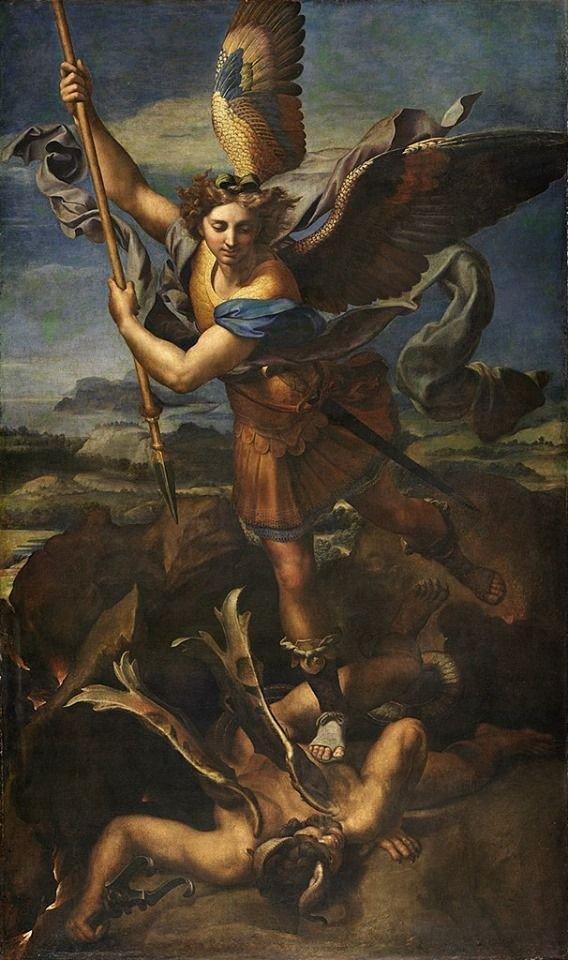 St. Michael Vanquishing Satan by Raphael. https://t.co/31wlO7eL3t