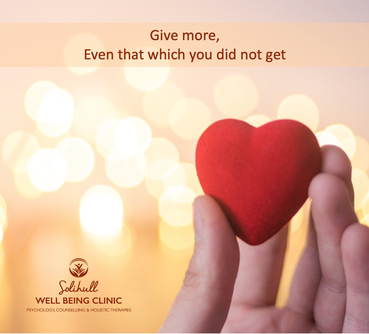 If we choose to focus on what we did not receive, or do not have, we will lead a life of lack. When we give, we develop a sense of richness - after all, if we can share, we remind ourselves we already have more than we can use. #solihullwellbeingclinic #givefreely #liveabundantly https://t.co/3wt5HKeIHo