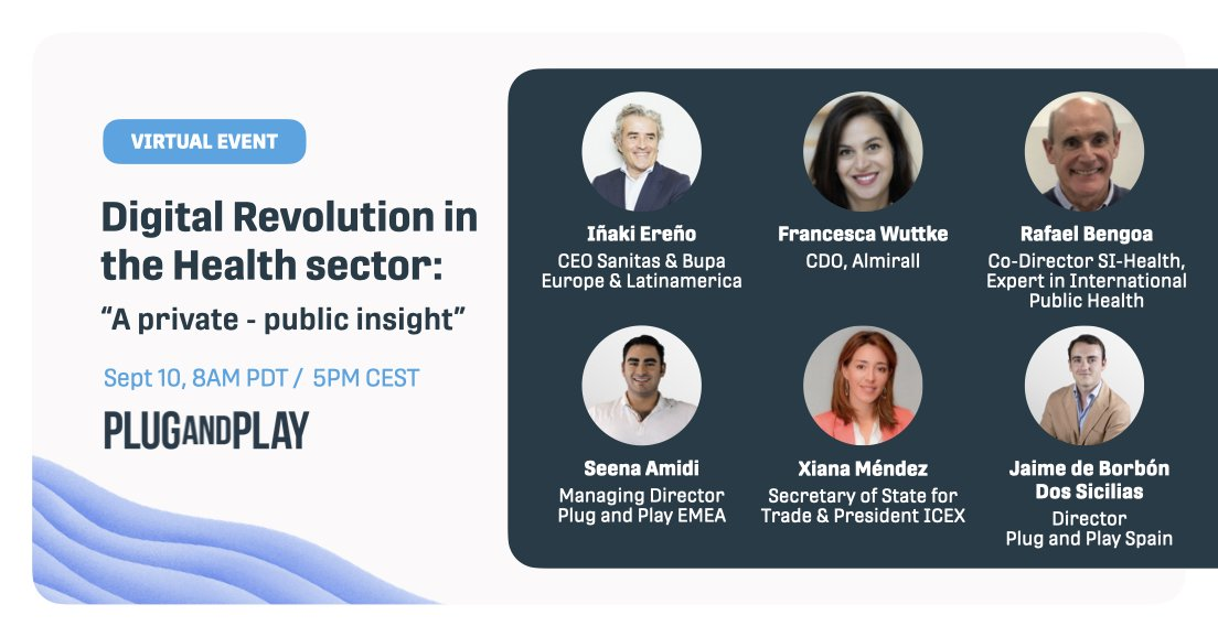 Join us to learn more about the digital transformation happening in the Health and Pharma industry. Hear from these top leaders and experts both in the public and private sectors.   👉 When? Sept 10th, 5PM CEST / 8AM PDT 👉 Register now: https://t.co/WV3cni6N7T https://t.co/H6IiXyhPAk