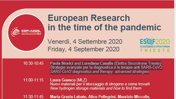 Today (4 Sept) at 10:30-10:45 at #ESOF2020 Paola Storici and Loredana Casalis (Elettra Sincrotrone Trieste) member of #Exscalate4CoV present: Strategie avanzate per la diagnostica e le terapie anti SARS-CoV2 SARS-CoV2 diagnostics and therapy: advanced strategies. https://t.co/57b36o6rfS