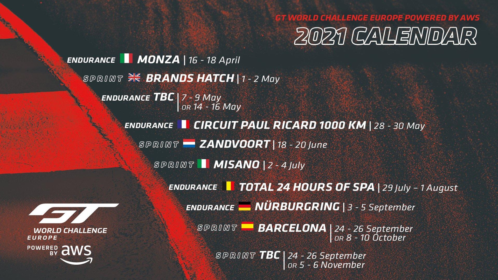 GT World Challenge   Le calendrier 2021 du GT World Challenge