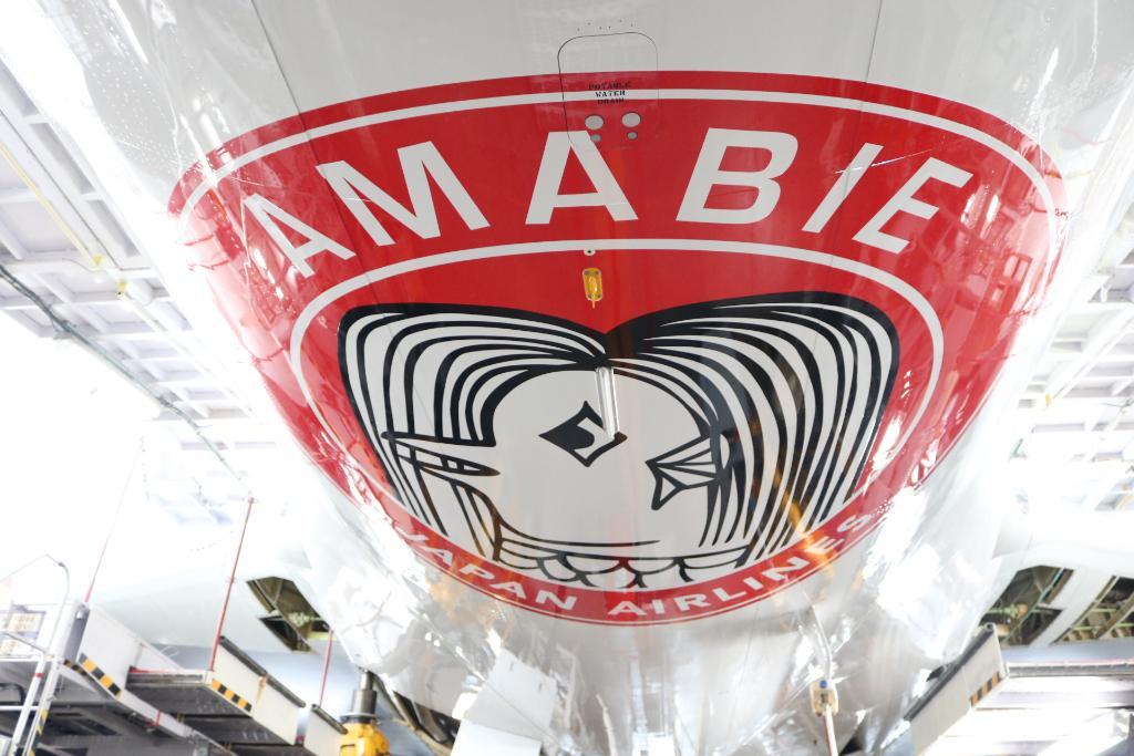 「JALアマビエJET」運航中 ───────────✈️  日本中を笑顔にしたい!という思いから 飛行機のお腹の部分に JAL整備士が手作業でペイント🎨  空を見上げて見つけたら #JALアマビエJET をつけて投稿してね😆  #願いを込めて #機体番号はJA613J👀 #アマビエ https://t.co/EtTKvSRlVB