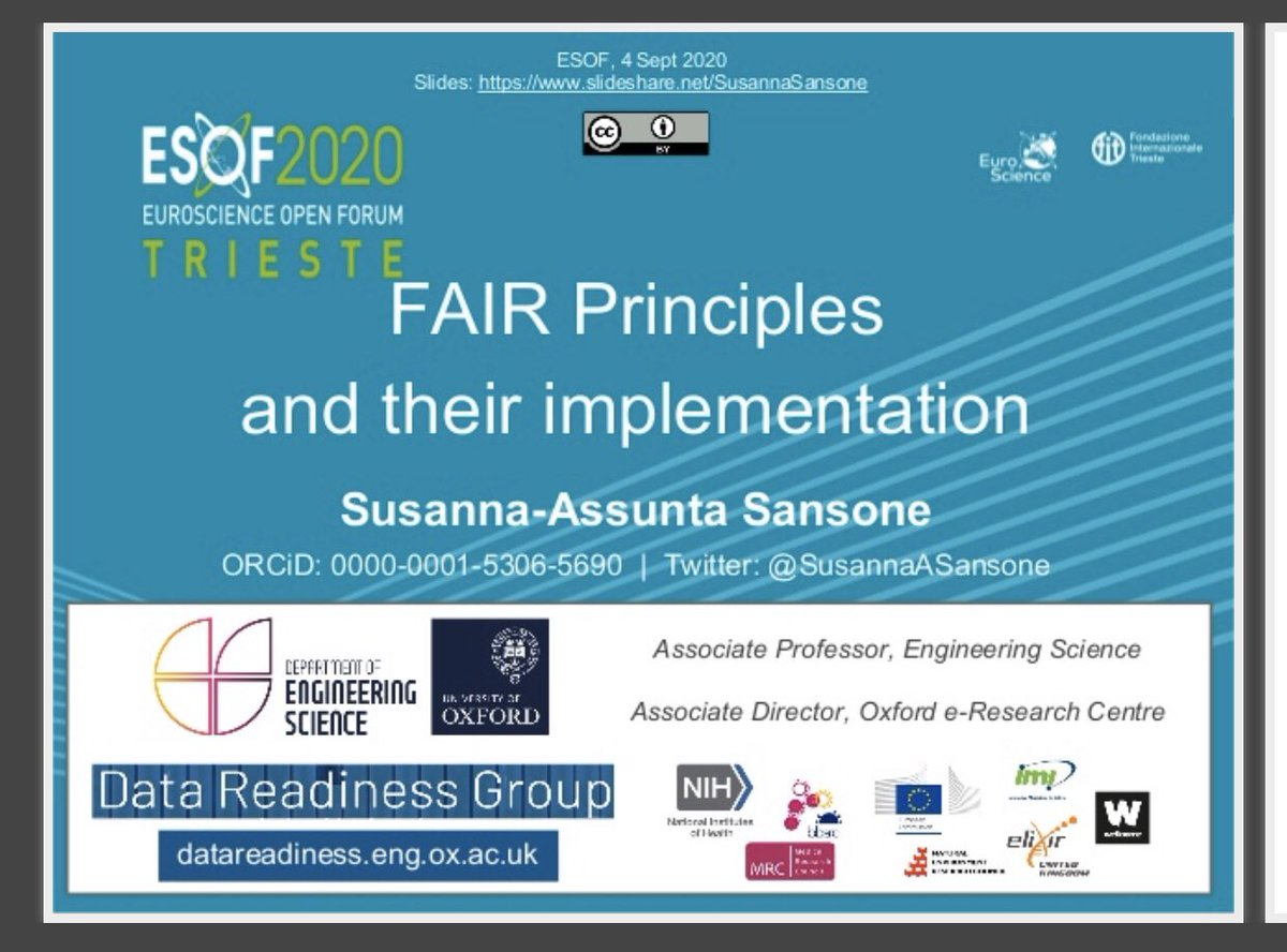 """Join our session on """"Scientific Data Sharing"""" #ESOF2020 starting in 45min! I will cover FAIR principles and landscape, as well as @FAIRsharing_org briefly! Schedule at https://t.co/fD0bMvs1W0 and my slides at https://t.co/q9tuT0scT5 #FAIRdata #datasharing #opendata #openscience https://t.co/LrmLwZI2Cq"""