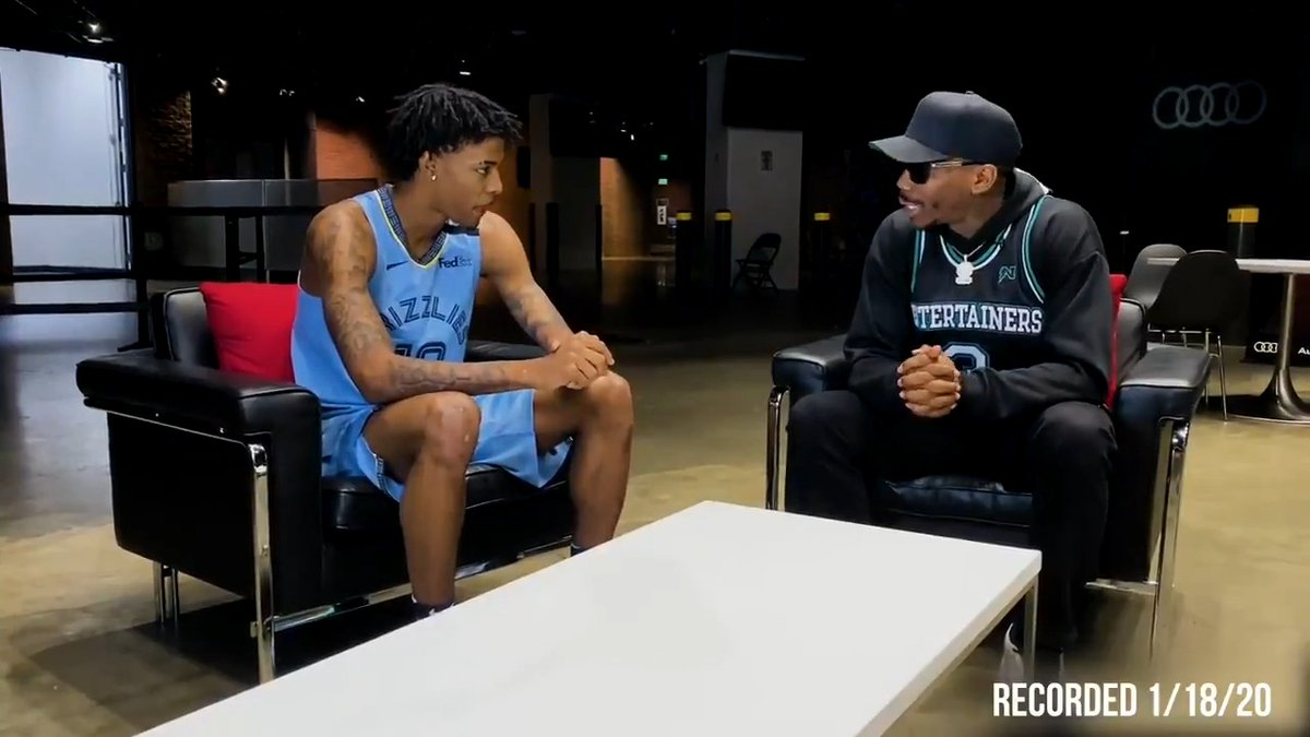 One year ago, 2019-20 #KiaROY @JaMorant sat down with @BoneCollector23 discuss his first season in the NBA! @memgrizz host Suns for #MLKDay hoops tomorrow at 5pm/et on TNT. 🎧🎵: @leebezel @DonovnCain @MBurb703 @unitedmasters
