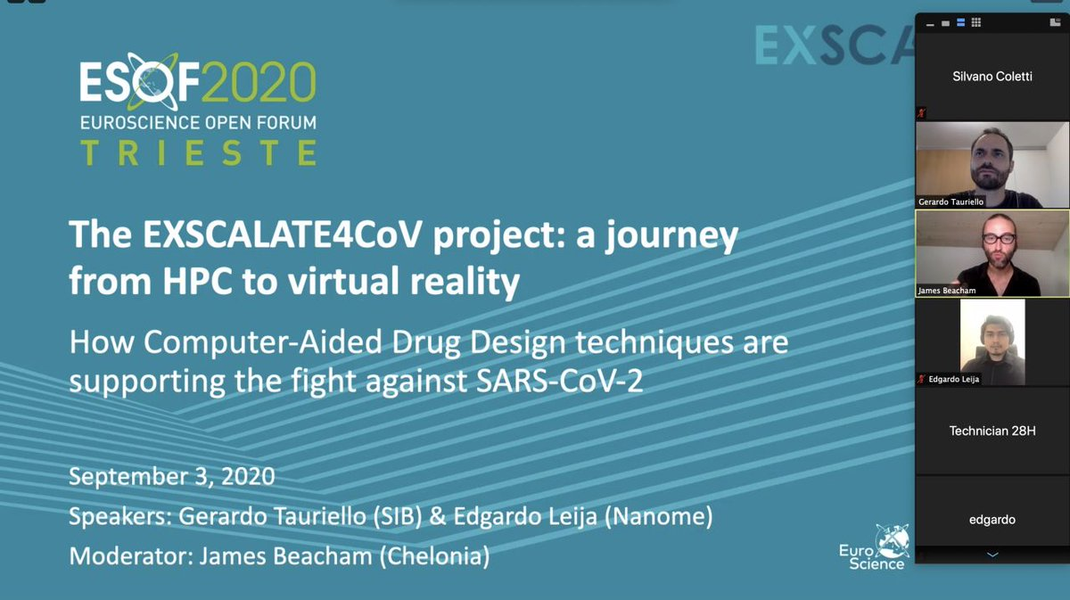 Gerardo Tauriello @SWISS_MODEL presenting the #Exscalate4CoV project with @EdgardoLeija @nanome_inc yesterday at #ESOF2020 @ESOF_eu  - https://t.co/EFBBaHMm89: explaining how #ComputerAidedDrugDesign is supporting the fight against #Covid19. More: https://t.co/zLGcdZPxMM https://t.co/hXHeevG2P0