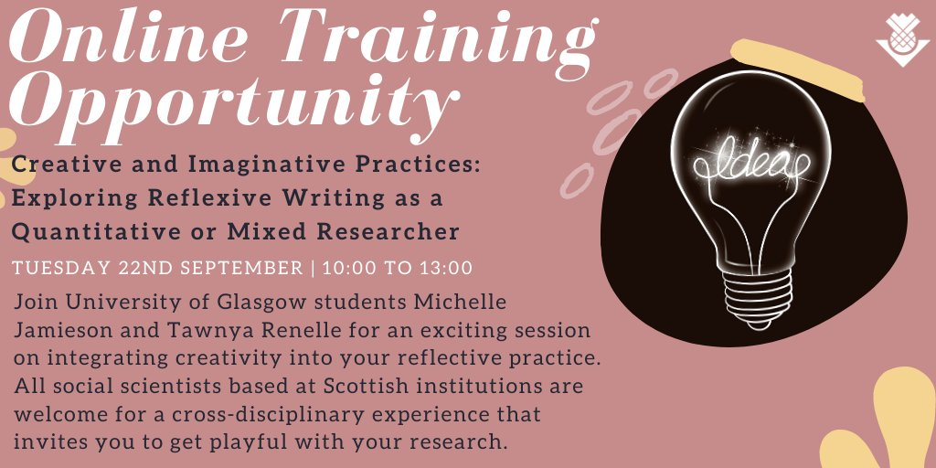 Join @UofGlasgow students @themichjam and @trenellepoetry for an exciting training session on integrating creativity into your reflective practice. Tap the link to find out more! 👉https://t.co/fxy4psuCMy #phdchat #phdlife #PhD https://t.co/DcCVihOvYv