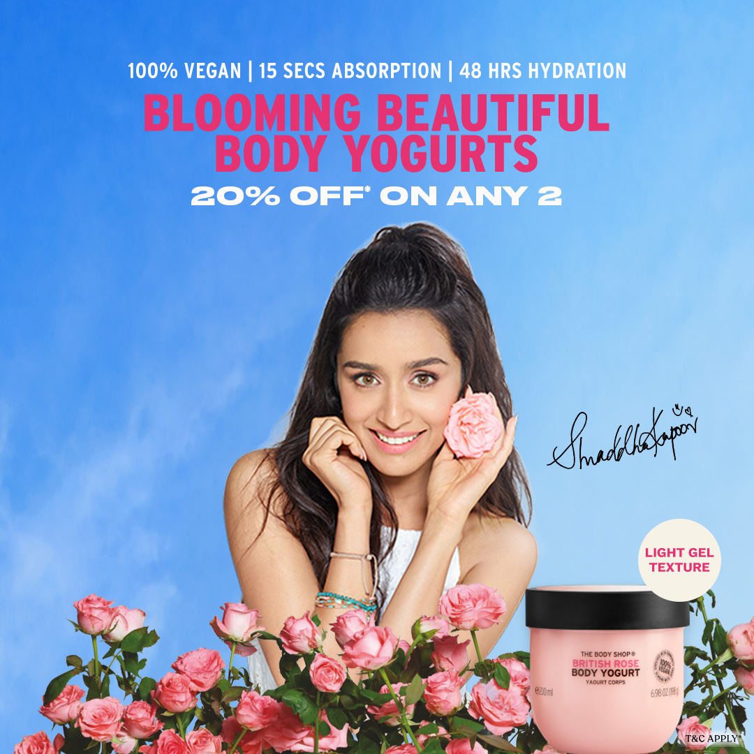 Soak your skin in 48 hrs hydration with The Body Shop collection of body yogurts. Made with nature inspired ingredients, it's light gel texture absorbs into your skin in 15 secs. . Get 20%* off when you buy any 2 body yogurts! Visit  #TheBodyShopIndia #TBSInd #BodyYogurt
