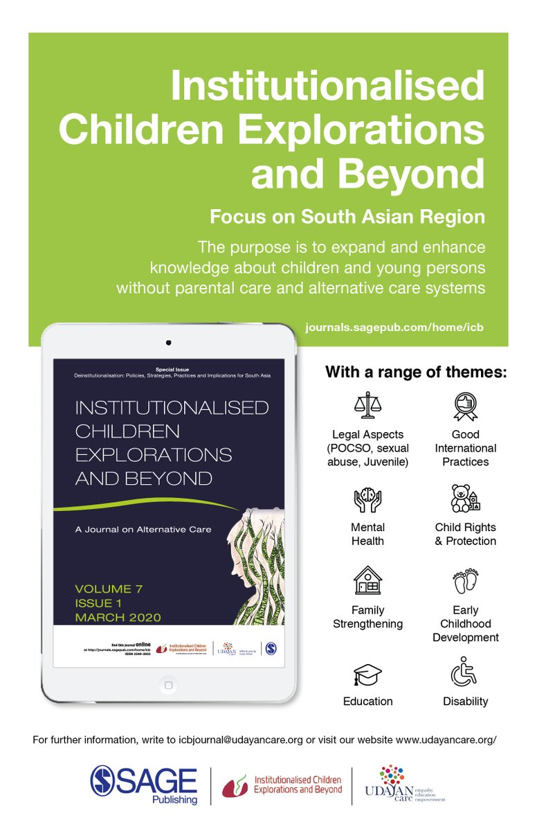 Read all about the journal @ https://t.co/cO5S1HdtQH #SAGEJournals #Deinstitutionalisation #Policies #Strategies #SocialPolicies #ICBjournal #SouthAsia #AlternativeCare #AcademicJournal #AcademicReading #InstitutionalisedChildrenExplorationsandBeyond https://t.co/uFiMjiukfy