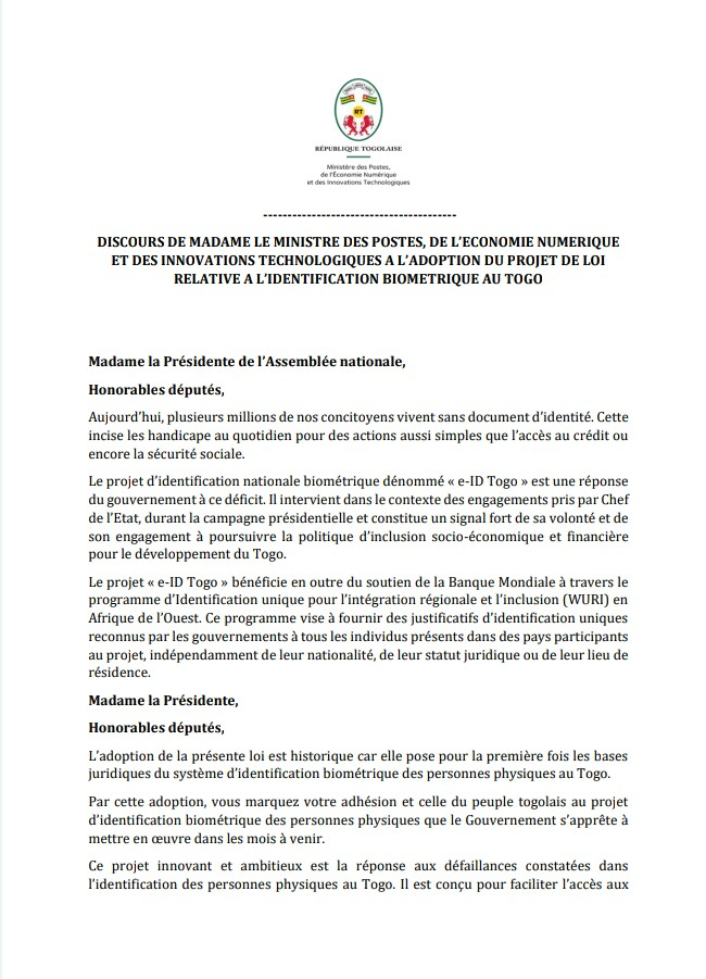 Retrouvez ici l'intégralité du discours de Madame la Ministre @cinalawson au @ParlementTogo sur l'adoption du projet de loi relatif à l'identification biométrique des personnes physiques au #Togo 👇 https://t.co/o1FPHkFrPc