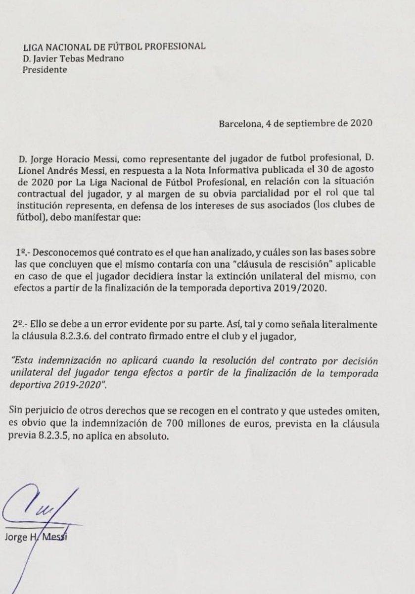 Communiqué Jorge Messi