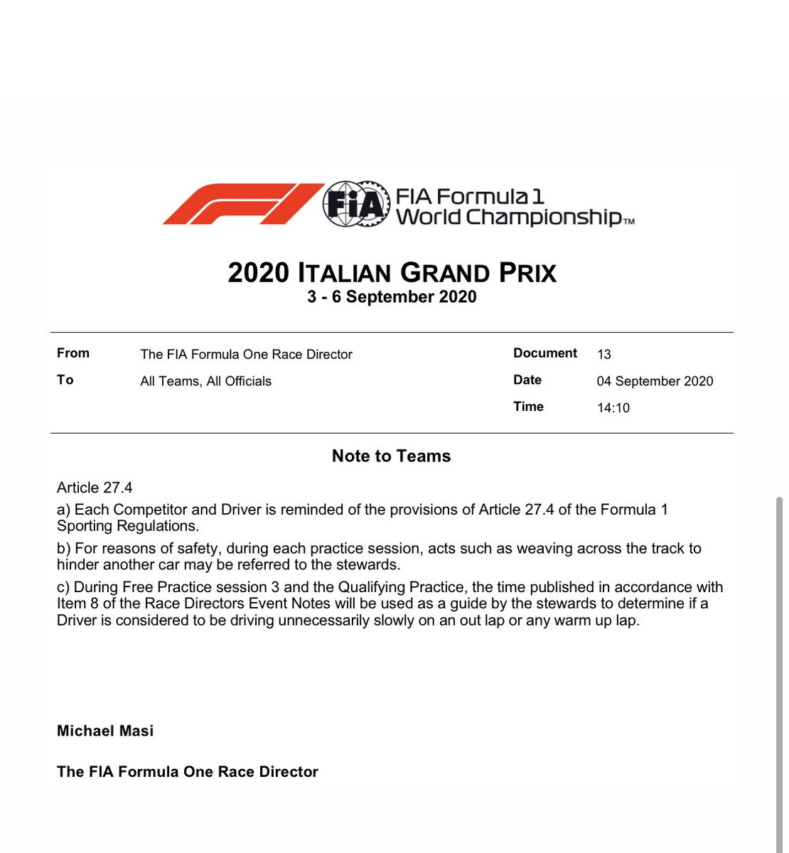 Interesting email from @fia It seems that a solution has been found to deter drivers from going unnecessarily slowly on outlaps. And a sensible solution too https://t.co/FmC2z0XuiX