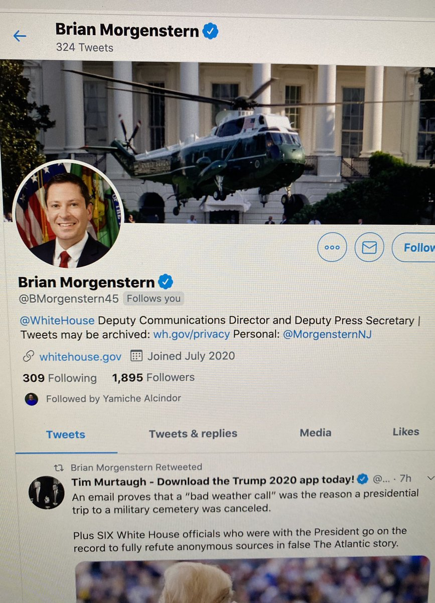 Hi @bmorgenstern45, happy to have become one of your/WH Communication Office's 309 official follows last night.   Glad the WH is finally paying attention to @realDonaldTrump's disrespect to our fallen soldiers. https://t.co/HmId9hhZPS
