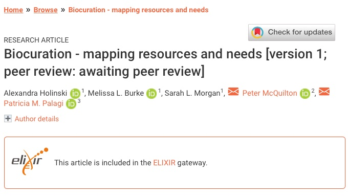 """Our paper on """"#Biocuration - mapping resources and needs"""" is now online! Outcome of one @ELIXIREurope #ELIXIR_Training implementation study and published by @F1000Research, https://t.co/vDLlzJP9wH @burkemlou @Slmorg @Drosophilic & Alexandra Holinski #bioinformatics #training https://t.co/HkB6TmPtpr"""