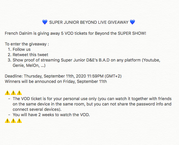 💙 BEYOND LIVE VOD GIVEAWAY 💙  French Dalnim is giving away 5 VOD tickets for #SUPERJUNIOR_BeyondLIVE!   To enter the giveaway : 1. Follow us 2. Retweet this tweet 3. Show proof of streaming SJ D&E's B.A.D  Deadline: 09/11  ⬇️read rules  #SUPERJUNIOR #elfinityandbeyond https://t.co/RUq2GX5G8P