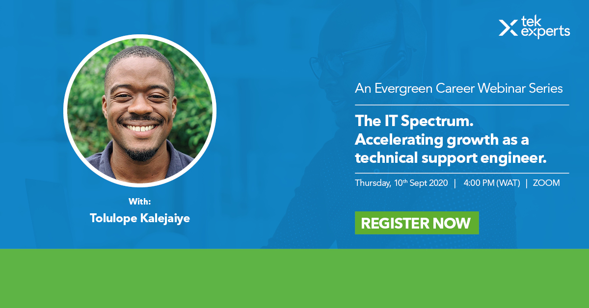 ✨ Hi team, our Customer Success Manager for Integrations, Tolu Kalejaiye, will share insights on critical skills you need as a Technical Support Engineer in a free webinar by @TekExpertsLive  🗓 Date: Thur, Sept. 10th ⏰ Time: 4 PM - 5 PM  RSVP here 👇🏾 https://t.co/MjuyjxkUL6 https://t.co/GKdPWb1M80