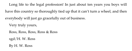 Harold Ross, founding editor of The New Yorker, closing a letter to his ex-wife's lawyers, Sept 1943. https://t.co/7nw7dCbFm4