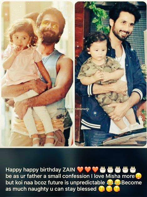 Replying to @ranihindustani8: #HappyBirthdayZainKapoor you're already 2 years old now🥰🥳🥳🥳❤💛🧡🎂🎂🎂🎈🎈🎈🎈 @shahidkapoor