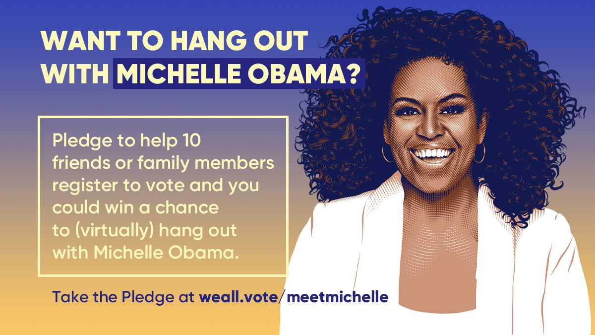 🚨ONCE IN A LIFETIME OPPORTUNITY ALERT 🚨  Are you ready for your chance to (virtually) hang out with Michelle Obama? We can make it happen.   Pledge to register 10 of your friends and family to vote this fall → https://t.co/TU8WMPmToz https://t.co/W9HW0pEsA0