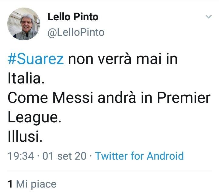 @LelloPinto passa da (illusi🤣) dopo tre giorni... 20 post su  #Suarez 🤣🤣 https://t.co/XxJk2eKfg2