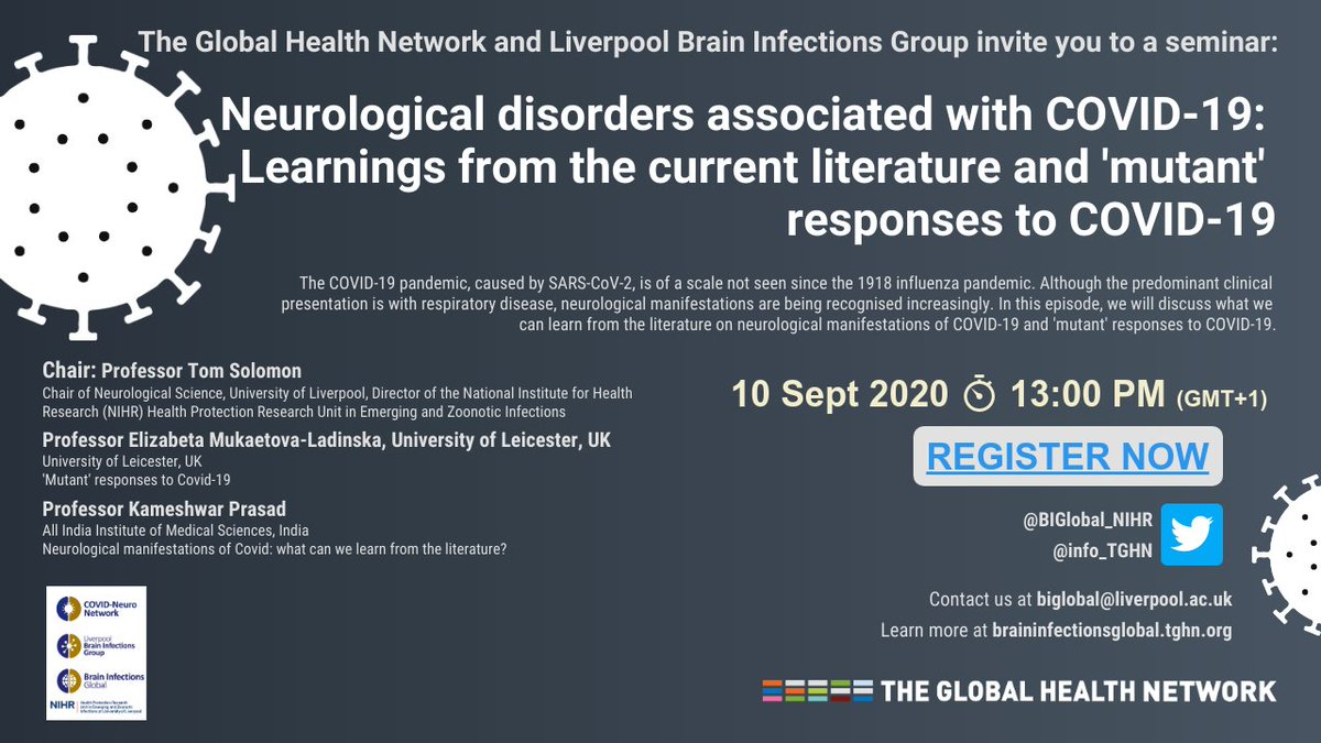 Join us for the next @BIGlobal_NIHR webinar on 10 Sept at 13:00 (UK) featuring @RunningMadProf @ladinska & Kameshwar Prasad:  Learnings from the current literature and 'mutant' responses to COVID-19   Register here: https://t.co/NkgSCOEXi2 https://t.co/YHRvZByHJv
