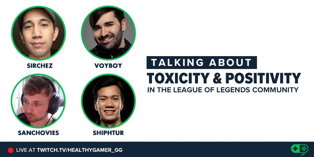 LIVE in 15 mins! Talking with @Voyboy @Shiphtur @SirhcEz @Sanchovies about toxicity and positivity in the league community. Come hang:  https://t.co/txioXhSD4v https://t.co/hBx068ZLlQ