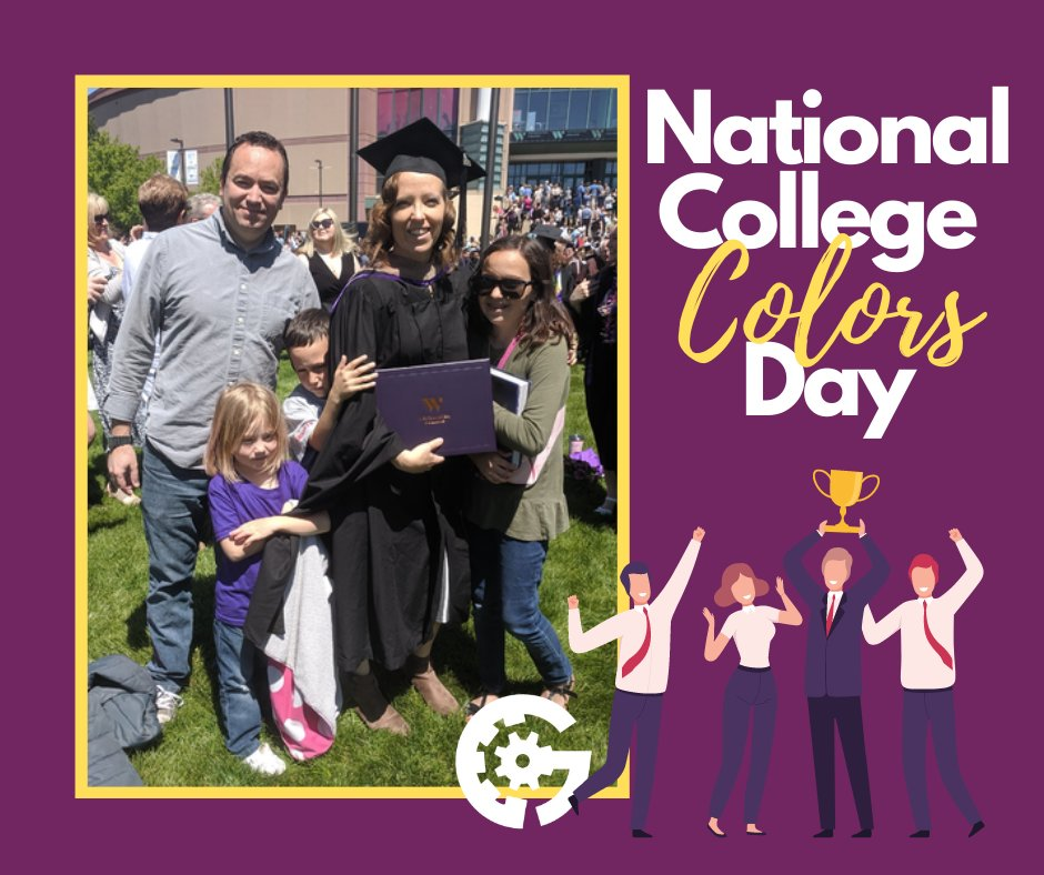 Happy #NationalCollegeColorsDay!  I'm repping purple in gold in this picture from my graduation day. Go @WestminsterSLC!  What were/are your school colors? Represent your schools in the comments!  #CollegeColors #SchoolColors #MBA #WestminsterCollege https://t.co/yEYIm4nkSv