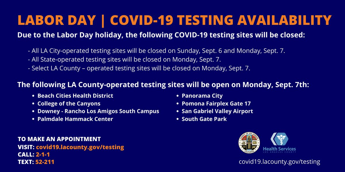 Cal State La On Twitter Covid19 Testing Appointments Are Available On The Labor Day Holiday 9 7 At Select L A County Operated Sites To Find Your Nearest Testing Site And To Schedule A Test