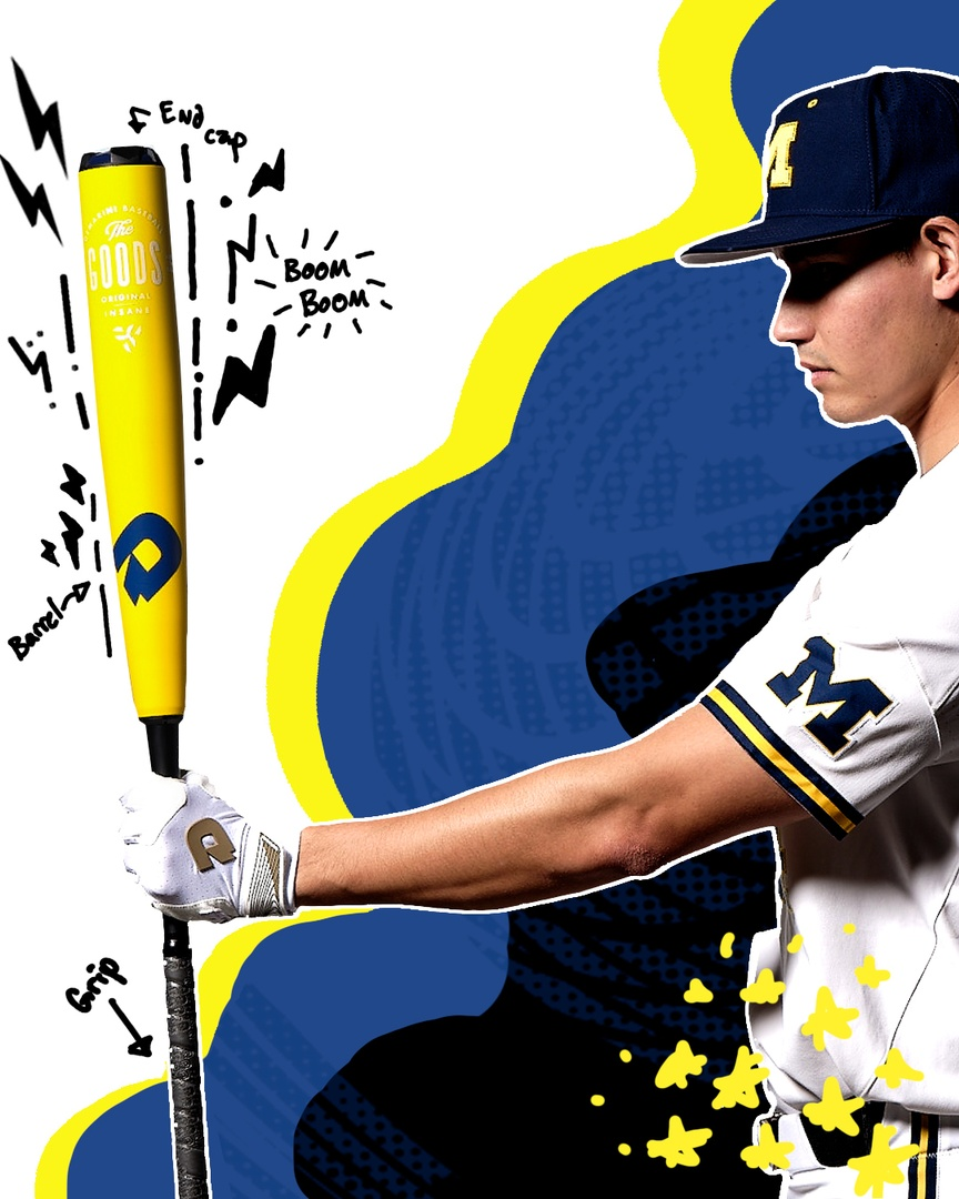 """The Mean Wolverine.""  ""The Banana Hammer.""  We've heard a couple of good nicknames for @umichbaseball's Custom 2021 The Goods.  You got one? Sound off below!  #CollegeColorsDay #GoBlue https://t.co/uCeZmt6kAq"