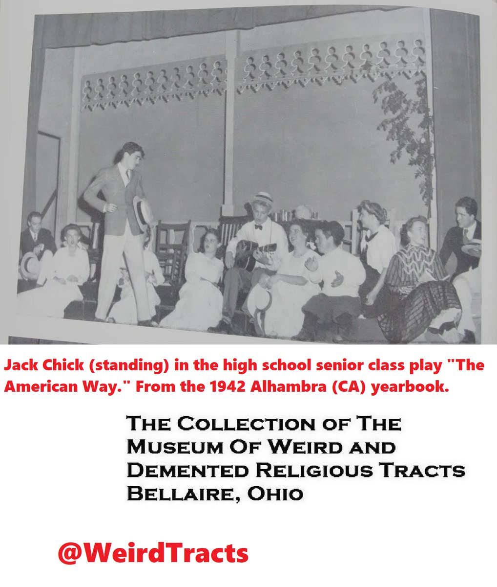 For the museum's feature article on the Jack Chick h.s. yearbooks, we added a photo of Jack in his senior play (with a boater hat!)  The article is here https://t.co/GEtqnbuLVQ  Archive of weird tracts https://t.co/yzZOVT4Moq  #MuseumFromHome  #MuseumsUnlocked #MuseumActivism https://t.co/KHc9NBUcy1