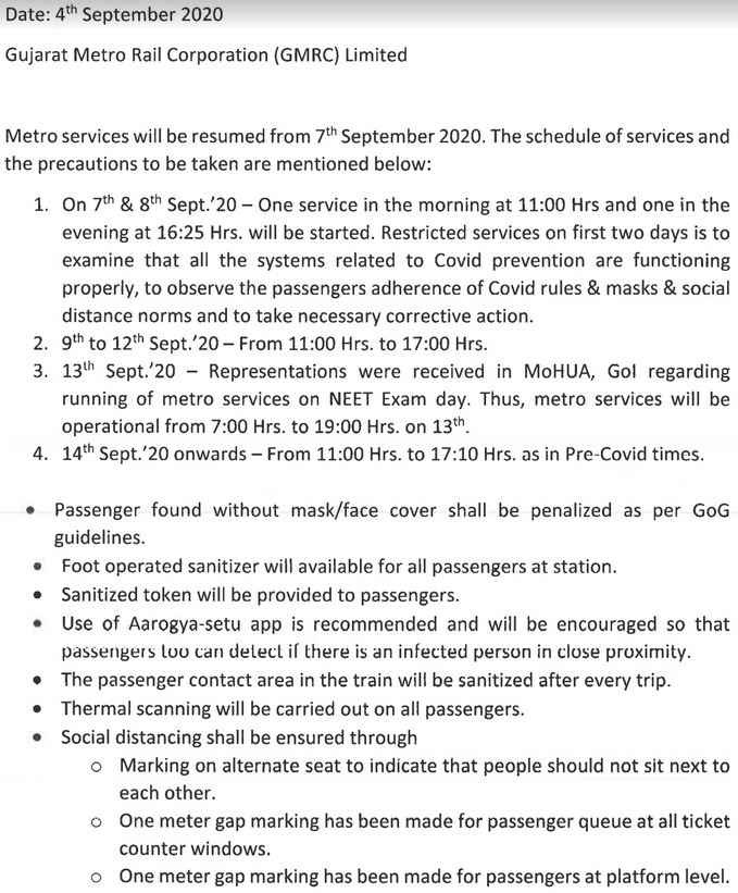 Ahmedabad Metro to Resume services from September 7