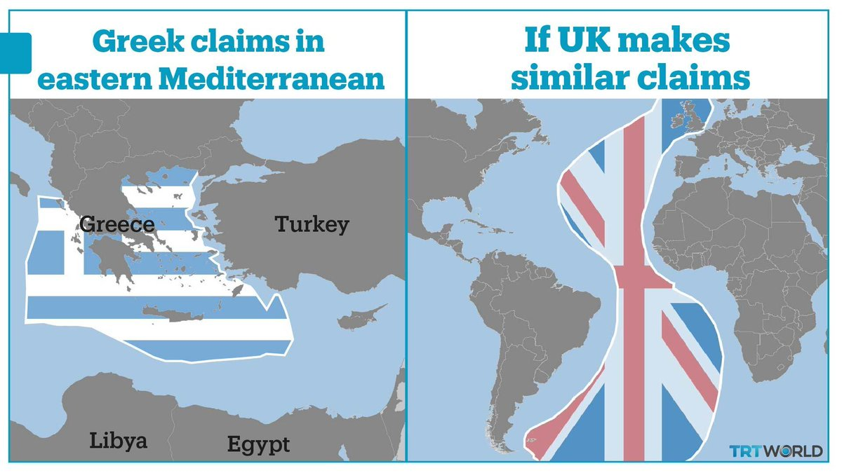 Greece argues that its islands in the Aegean Sea can generate their own Exclusive Economic Zones. But the Atlantic Ocean would become Her Majesty's Ocean if UK makes similar claim https://t.co/PGsuIDYa9f