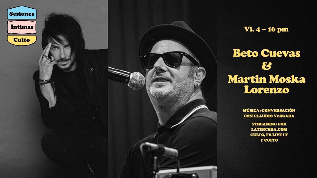 🎸🏡Sesiones Íntimas de @CultoLT | @iambetocuevas y Martín Moska Lorenzo de @LADecadentes nos acompañaran hoy viernes 4 de septiembre en un nuevo episodio. Conéctate a las 16:00 pm a través de las plataformas de @latercera y FB Live: https://t.co/VuJEJLKnP0 https://t.co/dLxHZmCCoL