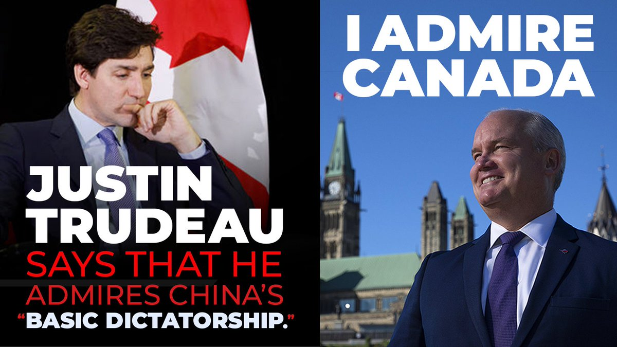 Justin Trudeau says the country he admires most is China.  The country I admire most is Canada. 🇨🇦 Are you with me? 👍 https://t.co/wUvtch0nTz