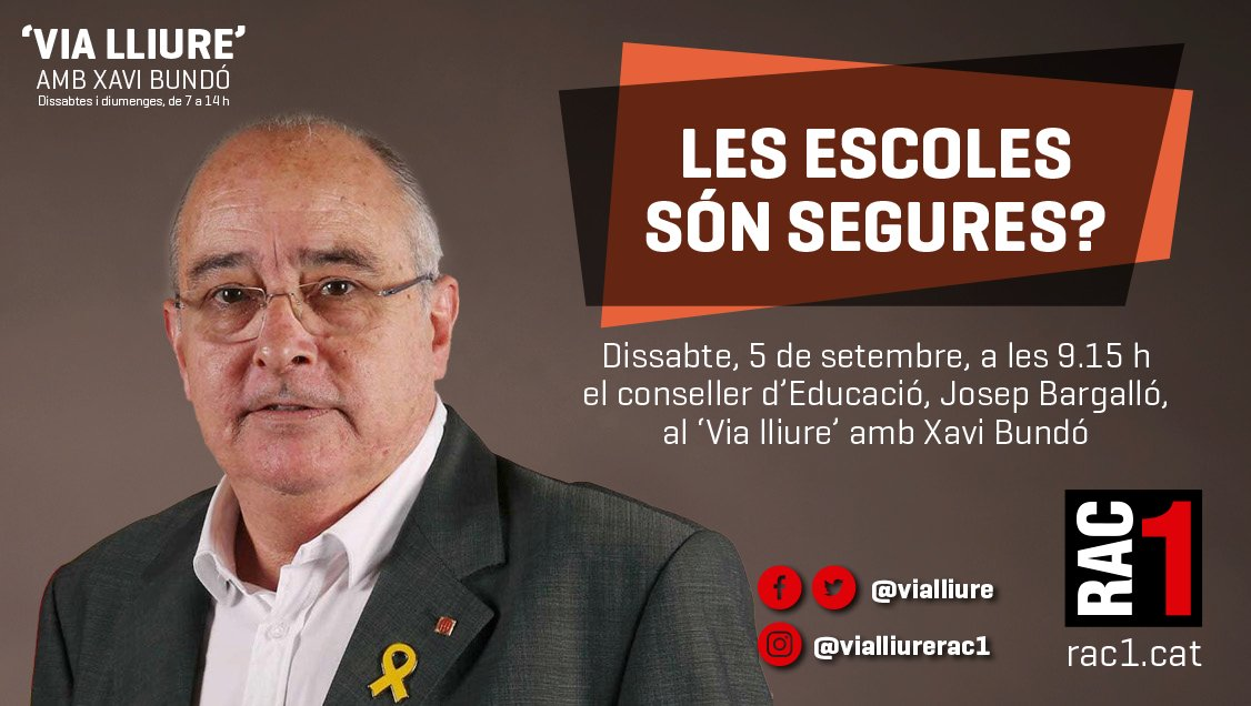 🔴 Demà arrenquem amb l'entrevista a @JosepBargallo, conseller d'Educació.  🤔 Obriran totes les escoles el dia 14? Seran segures? Què passa si hi ha un positiu? I si una família decideix no portar els fills a classe?  ➡️📻 Totes les respostes, demà al #ViaLliure amb @xbundo https://t.co/94CYQplBE3