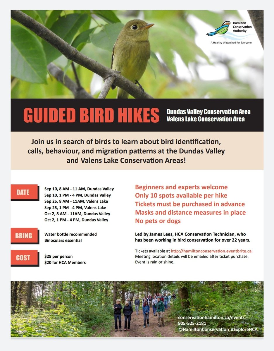 Fancy birding with me @Hamilton_CA Dundas Valley or Valens Lake this fall, book your tickets now! #birding #birdmigration #birdwatching #Ontario @conont https://t.co/23ImYK4TlL