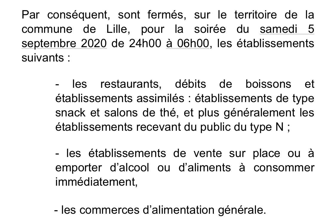 Alors que la ville de Lille organise la Braderie des commerçants ce week-end, pour «compenser» l'annulation de la vraie braderie, le @prefet59 décide la fermeture anticipée des bars et restaurants. Ils fermeront à minuit demain, samedi. #braderielille https://t.co/WGIN1I4gqk