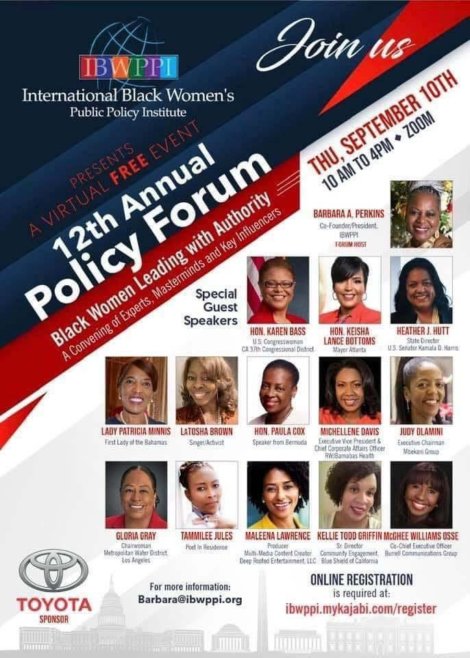The International Black Women's Public Policy Institute proudly presents a virtual #FREE event: The 12th Annual Policy Forum on Black Women Leading with Authority.   It all takes place on September 10th from 10 am to 4 pm. To register, visit our website.   #SacCulturalHub https://t.co/4WRL1VabFJ