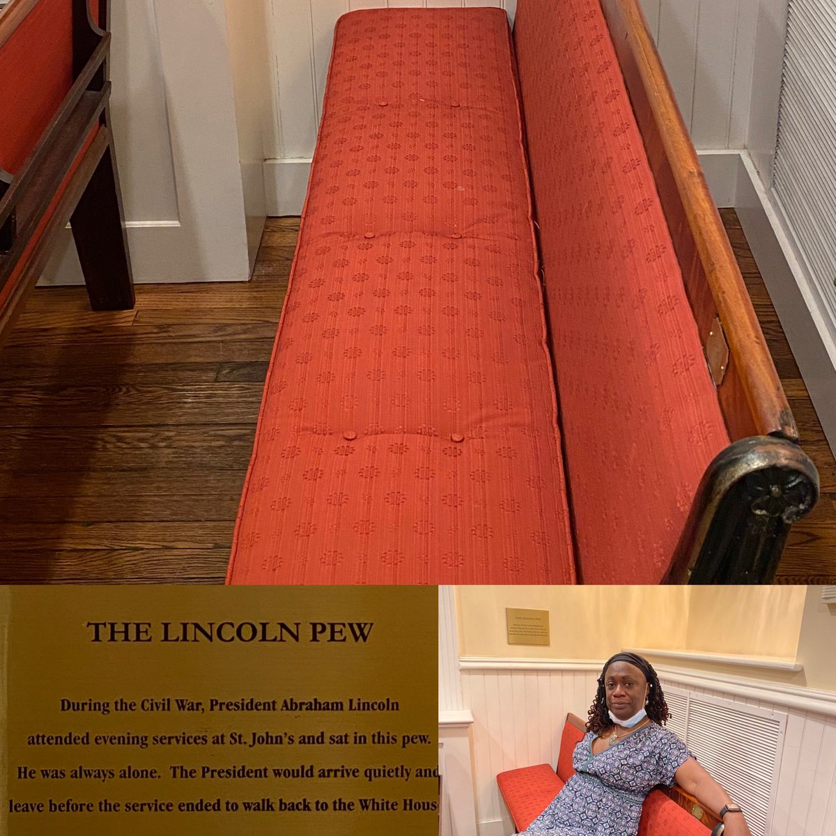 Spent part of today marinating in history. Sat in the #StJohnsChurch pew that President Lincoln occupied when he could make it to Sunday services. Wondered what he would think about where we are now.  @StJohnLafayette @NatGeo https://t.co/iPGZAeE7rh