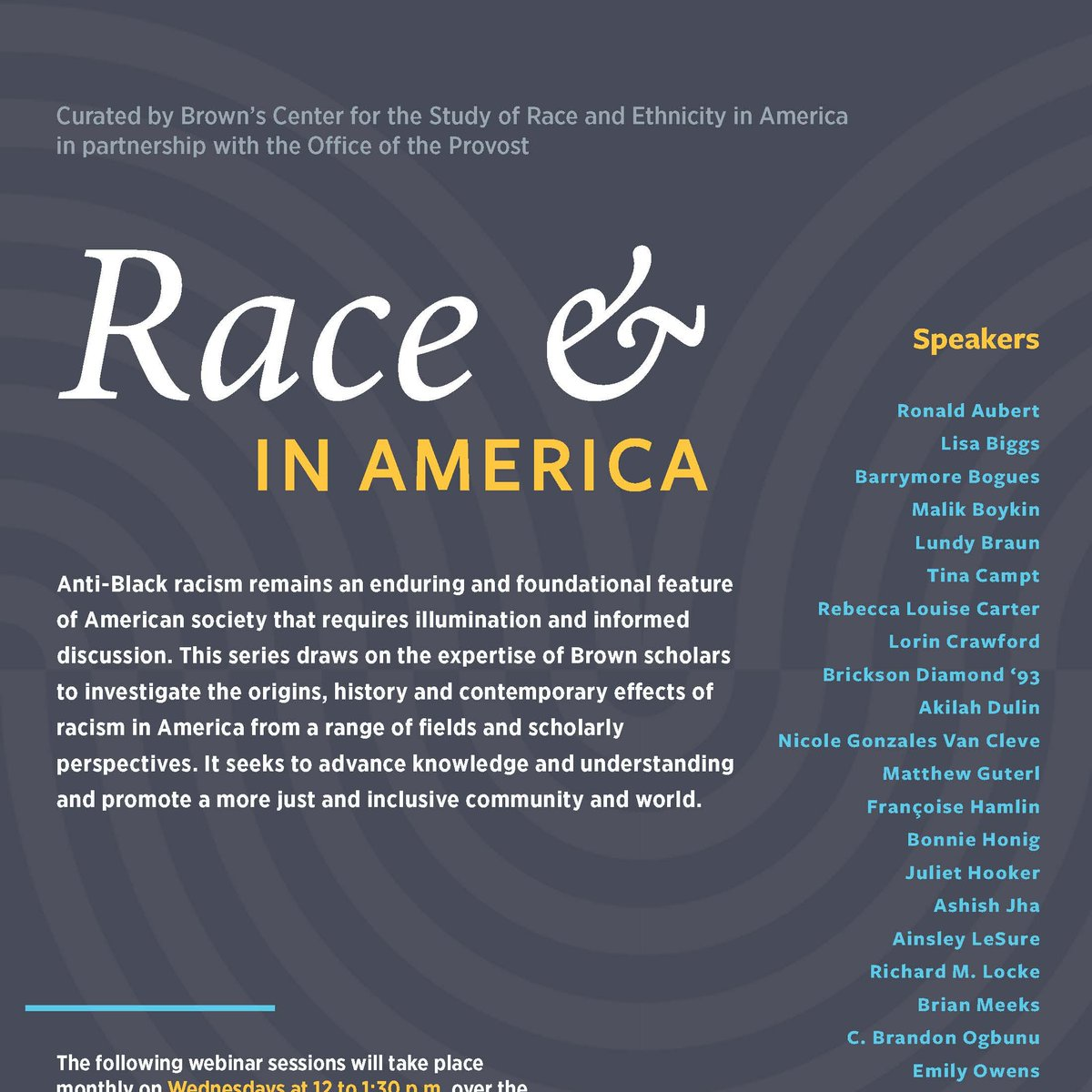 """Check out the upcoming webinar series, """"Race &,"""" in America curated by Brown's  Center for the Study of Race and Ethnicity in America (@RaceEthnicity) in partnership with the Office of the Provost.  Learn more:  https://t.co/j5i2tSKjuG https://t.co/2o26Ad8XWm"""