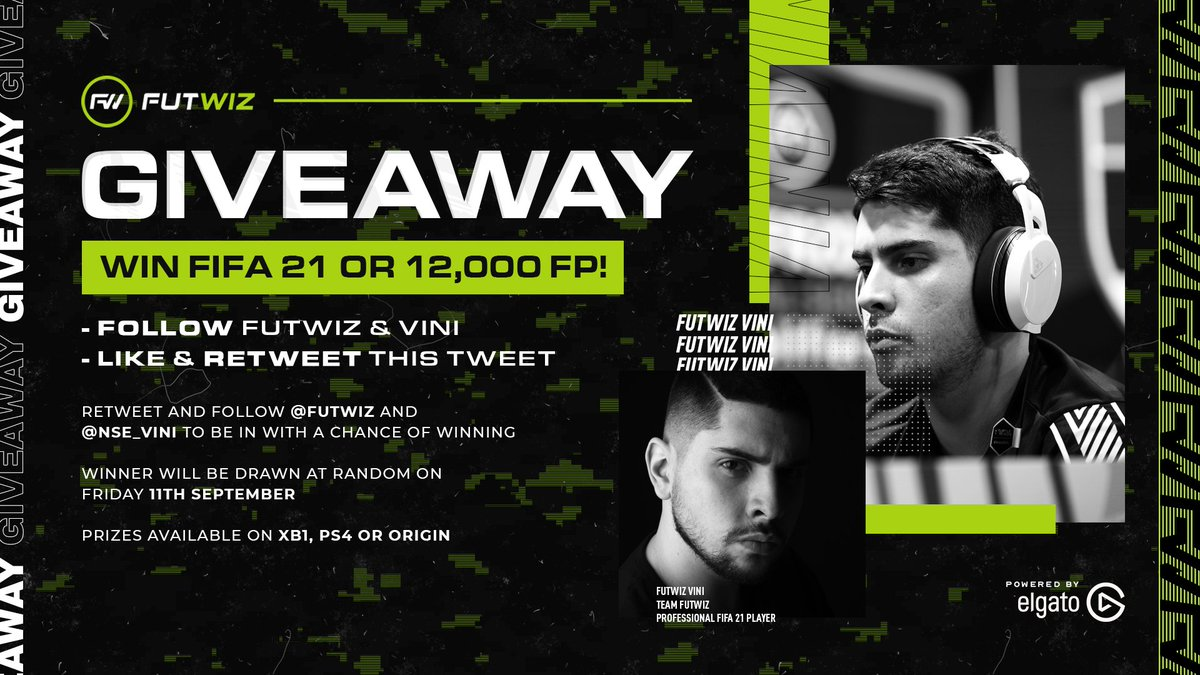 Along with the news of @NSE_Vini joining #TeamFUTWIZ comes another #FIFA21 / FIFA points giveaway! 🎉  All you need to do to enter is :  ⚫️Follow @FUTWIZ & @NSE_Vini  💚Like this tweet 🔁Retweet this tweet  Winner will be drawn at random on Friday 11th September! https://t.co/kSmyoOF16M