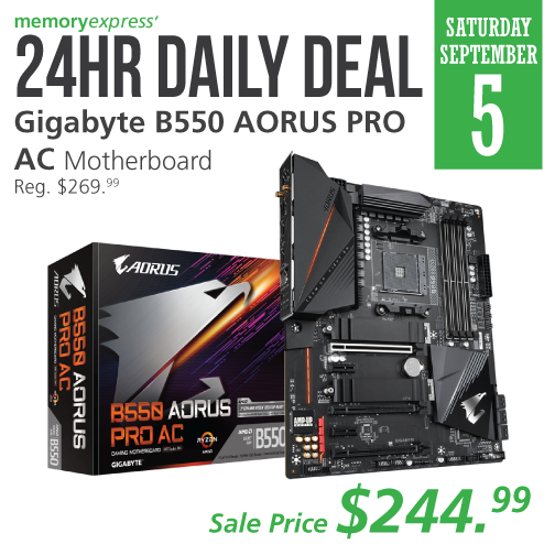 Memory Express On Twitter 24hrdailydeal Based On The Latest Amd B550 Chipset The Gigabyteusa B550 Aorus Pro Ac Motherboard Makes Pcie 4 0 Possible For Anyone That Wants Higher Performance Bandwidth And Speed